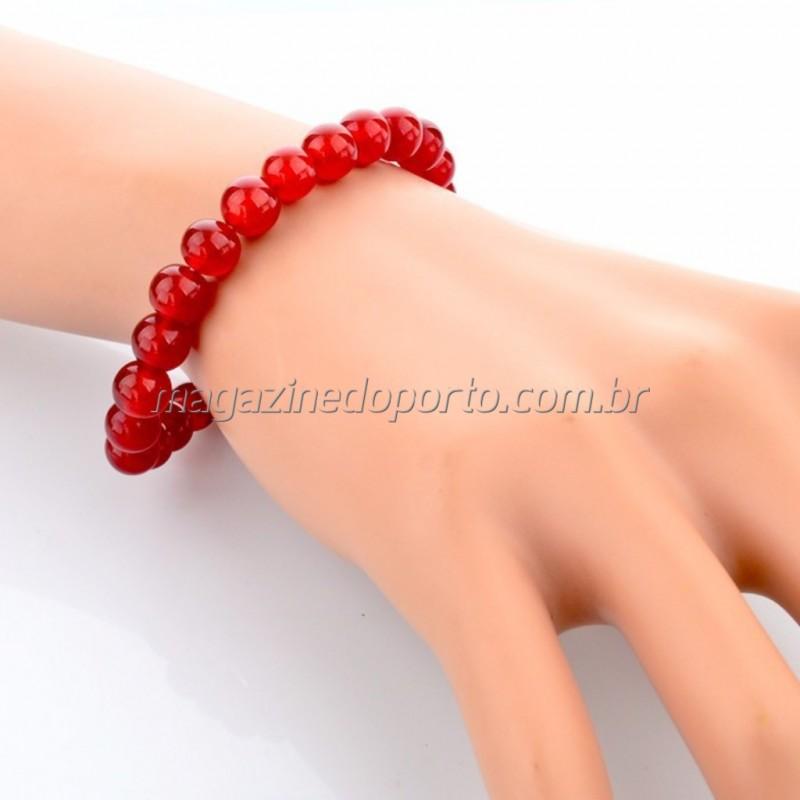 Bracelete Pedra Agata Vermelha Natural Thai