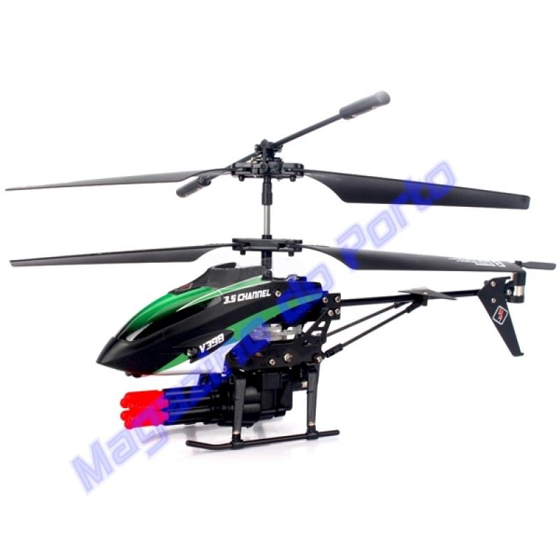 Helicóptero Controle Remoto 3.5 Canais com Metralhadora Atira de Verdade!