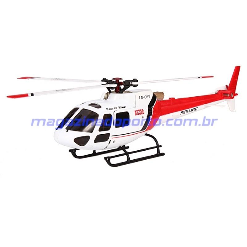 Helicóptero Esquilo AS350 Controle Remoto 6 Canais Completo e pronto para Voar!