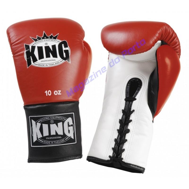Luva de Muay Thai Profissional King (Vermelha e preta laço)