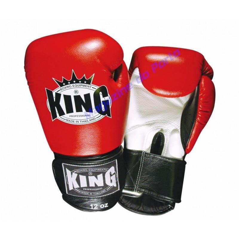 Luva de Muay Thai Profissional King (Vermelha e Branca)