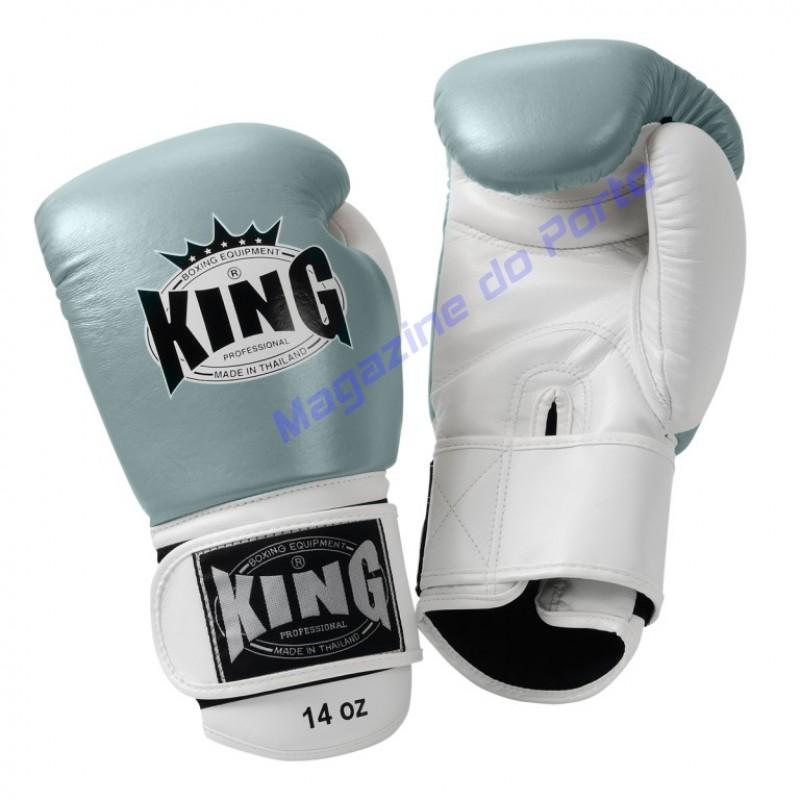 Luva de Muay Thai Profissional King (Branca e cinza)