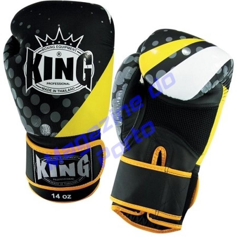 Luva de Muay Thai Profissional King (Preta amarela e branca)