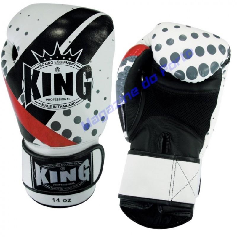 Luva de Muay Thai Profissional King (Branca,preta,vermelha e cinza)