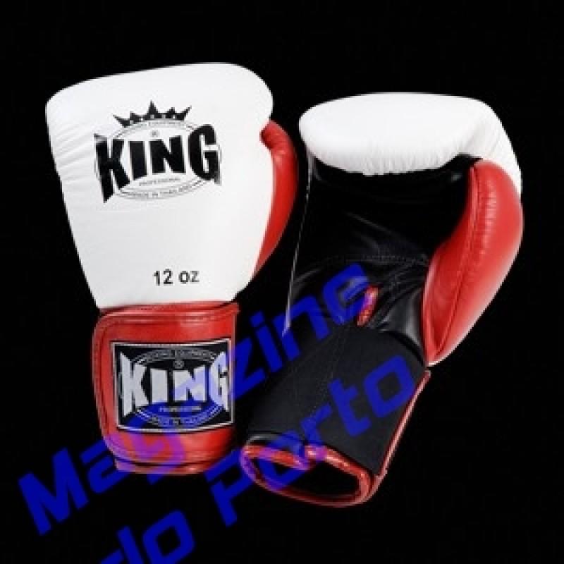 Luva de Muay Thai Profissional King (Branca preta dedo vermelho)