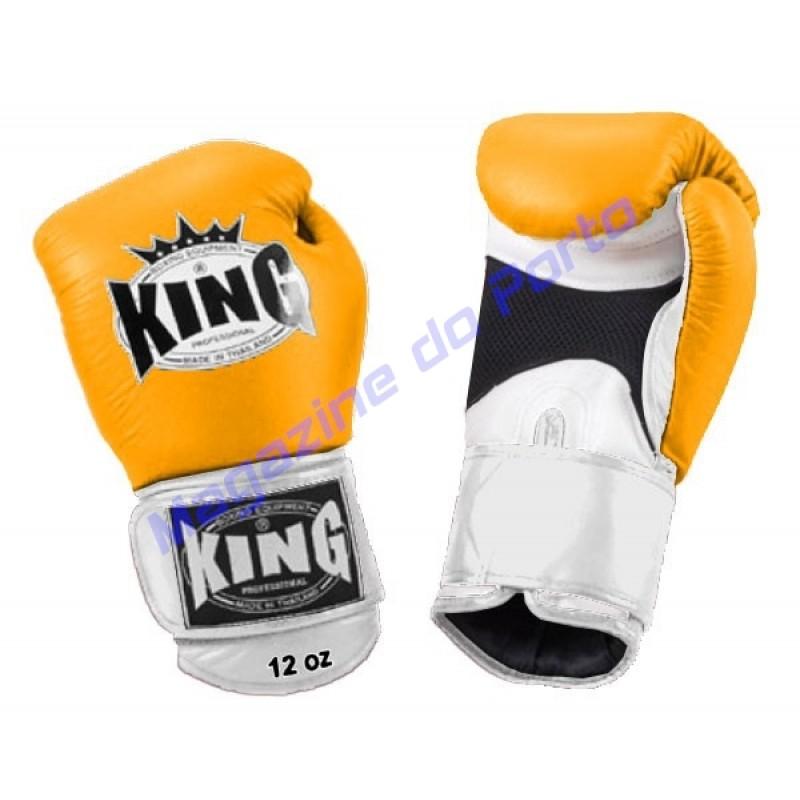 Luva de Muay Thai Profissional King (Amarela branca e preta)