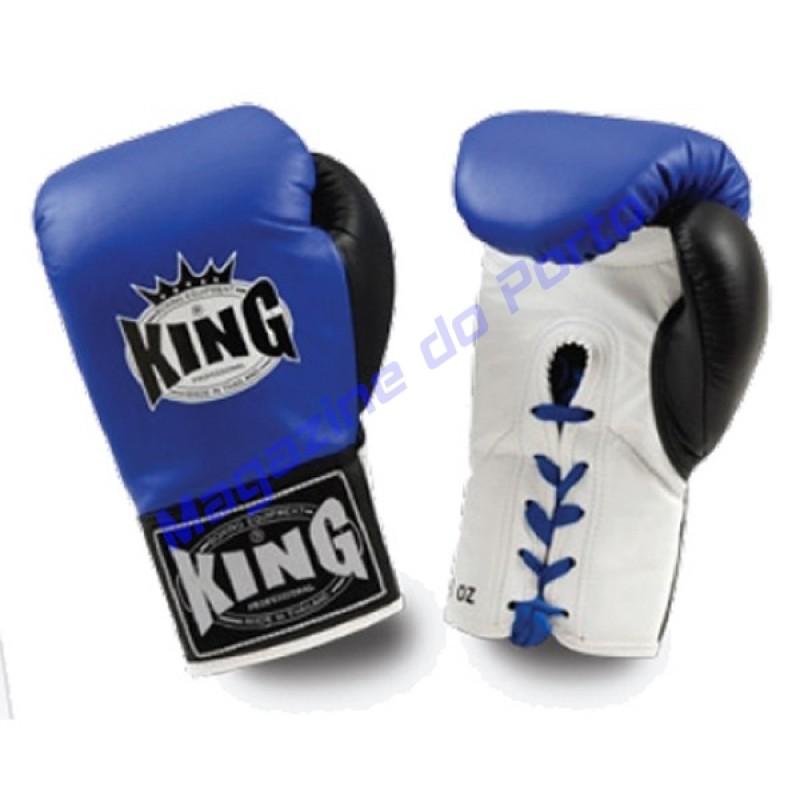 Luva de Muay Thai Profissional King (Azul branca dedo preto com laço)