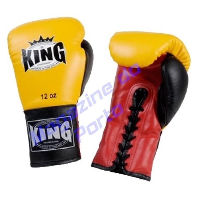 Luva de Muay Thai Profissional King (Amarela vermelha dedo preto com laço)