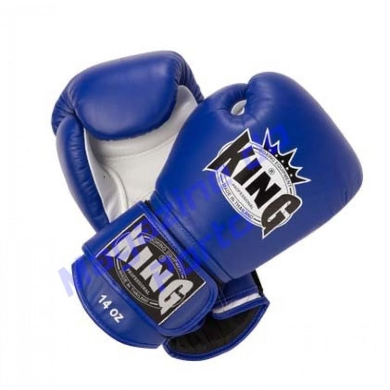 Luva de Muay Thai Profissional King (Azul e branca)