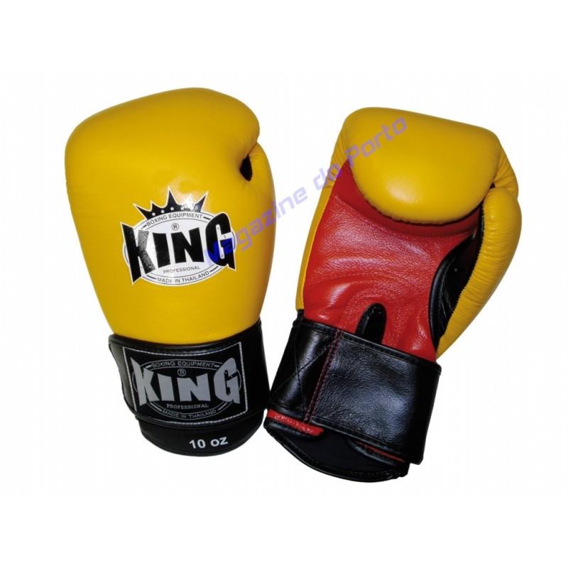 Luva de Muay Thai Profissional King (Amarela e vermelha)
