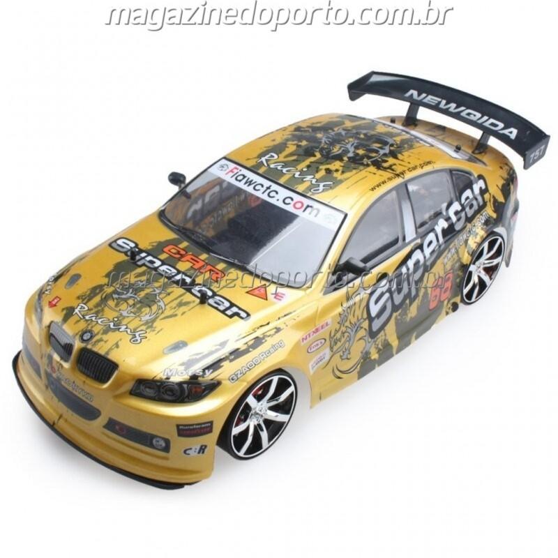 BMW DRIFT E CORRIDA 1:10 4WD COM LUZES E NEON CONTROLE REMOTO 2.4GHz