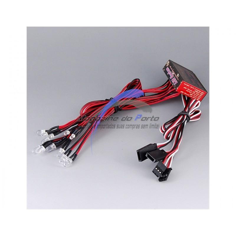 Kit de Luzes LED Carro Controle Remoto 1:10