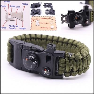 15 em 1 Bracelete Paracord Com Pederneira Termômetro Bússola Kit de Sobrevivência Expedição Missão Tailandia