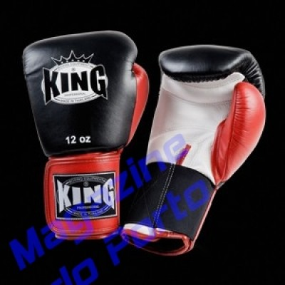 Luva de Muay Thai Profissional King (Preta Branca dedo vermelho)