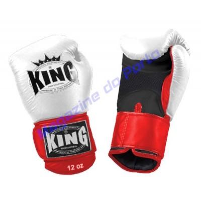 Luva de Muay Thai Profissional King (Branca vermelha e preta)