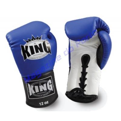 Luva de Muay Thai Profissional King (Azul e branca com laço)