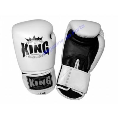 Luva de Muay Thai Profissional King (Branca e preta)