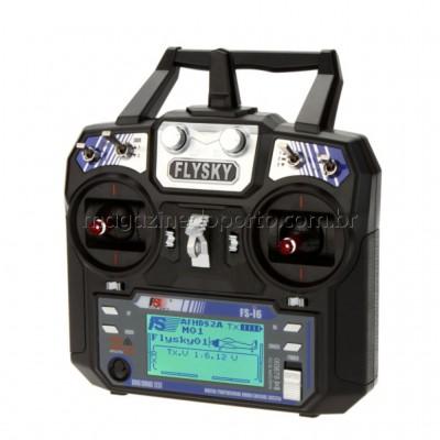 Controle Remoto Transmissor com Receptor 6 Canais Digital 2.4 GHz Fly Sky