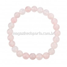 Bracelete Pedra Quartzo Rosa Natural Thai